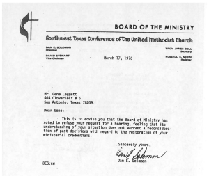 Letter rejecting Gene's request for a hearing after he was defrocked for coming out as a gay man.